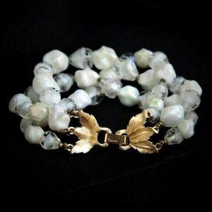 Mid-Century CROWN Trifari Glass Bead Bracelet